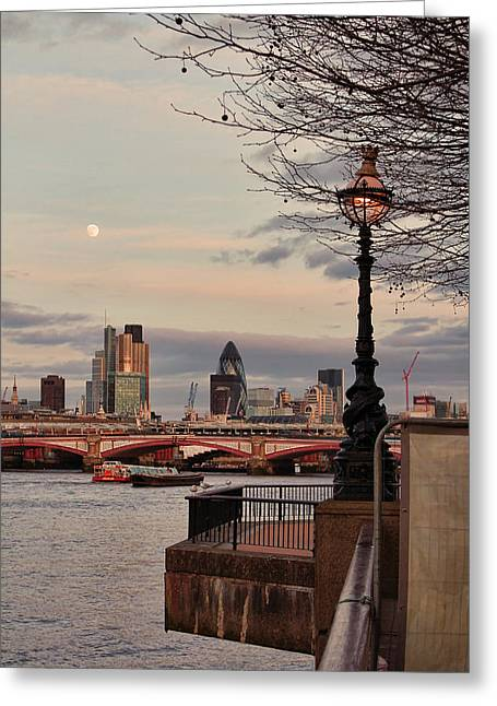 Barge Greeting Cards - London skyline from the South Bank Greeting Card by Jasna Buncic