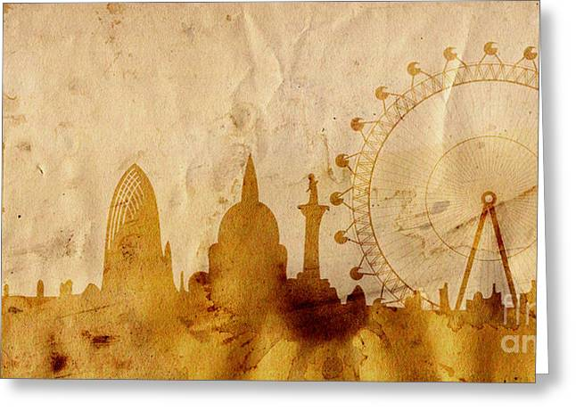 Historic Building Mixed Media Greeting Cards - London skyline in grunge style Greeting Card by Michal Boubin