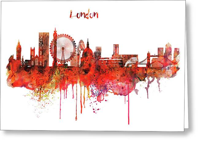 London Skyline Watercolor Greeting Card by Marian Voicu