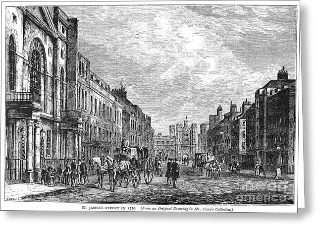 1750 Greeting Cards - London: St. James Street Greeting Card by Granger