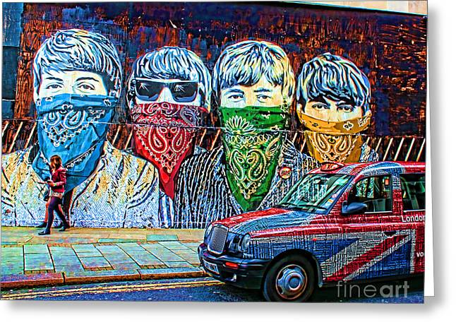 Graffiti Art Greeting Cards - London street Greeting Card by Jasna Buncic