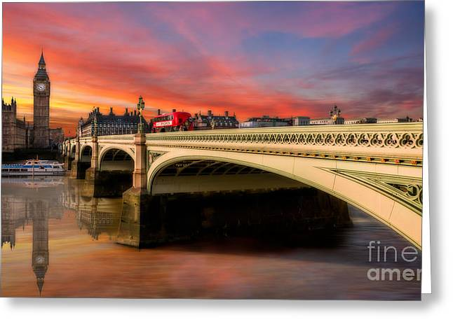 London Sunset Greeting Card by Adrian Evans