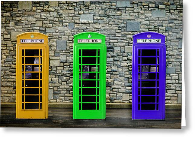 Telephone Box Greeting Cards - London Telephone Boxes Greeting Card by Mark Rogan
