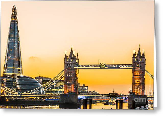 Night Scenes Greeting Cards - London Tower Bridge and The Shard Greeting Card by Emre Zengin