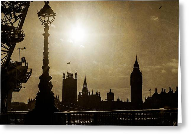 Europe Greeting Cards - London UK Houses of Parliment in Silhouette Greeting Card by Susan  Schmitz