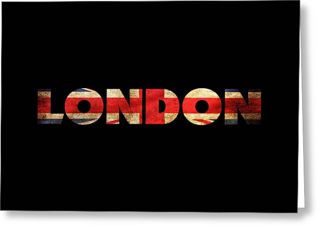 London Vintage British Flag Tee Greeting Card by Edward Fielding