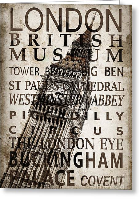 London Vintage Poster Sepia Greeting Card by Delphimages Photo Creations