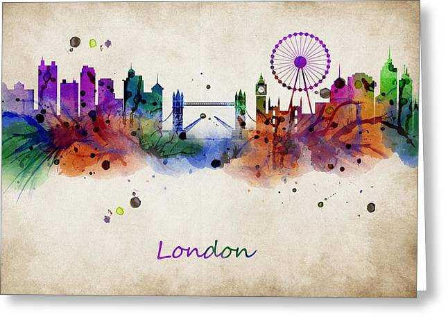 Abstract Digital Art Greeting Cards - London watercolor skyline Greeting Card by Mihaela Pater