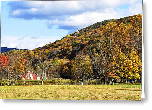 Allegheny Greeting Cards - Lone Barn Fall Color Greeting Card by Thomas R Fletcher