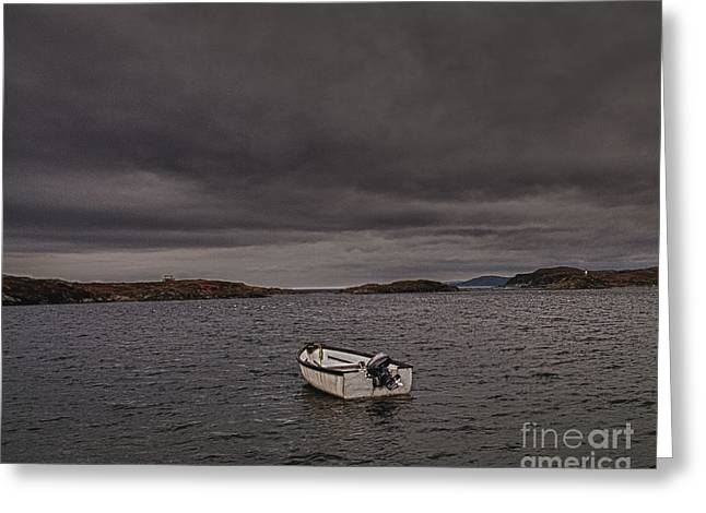 Boats In Water Greeting Cards - Lone Boat in a Storm Greeting Card by Timothy Flanigan
