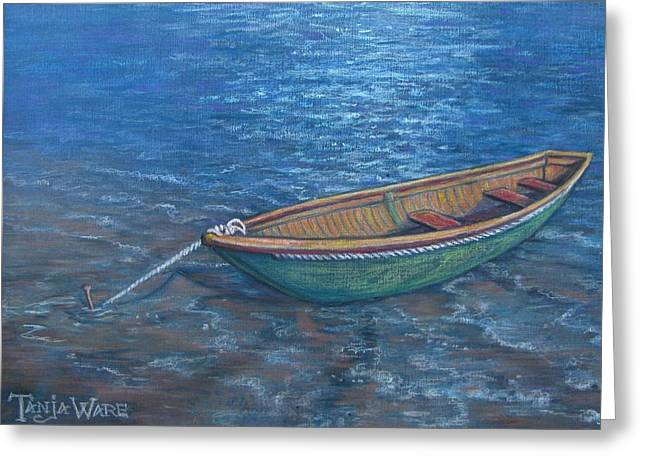 Nautical Pastels Greeting Cards - Lone Boat Greeting Card by Tanja Ware