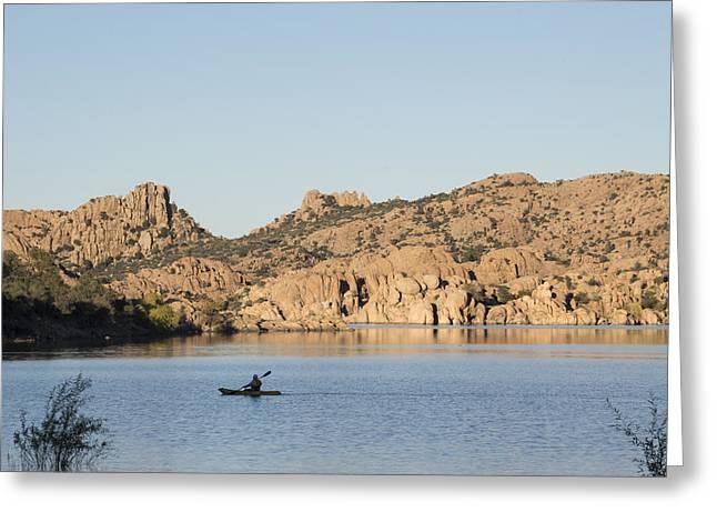 Watson Lake Greeting Cards - Lone Canoe Greeting Card by Laura Pratt