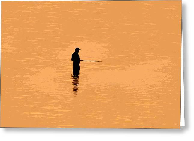 Lone Fisherman Greeting Card by David Lee Thompson