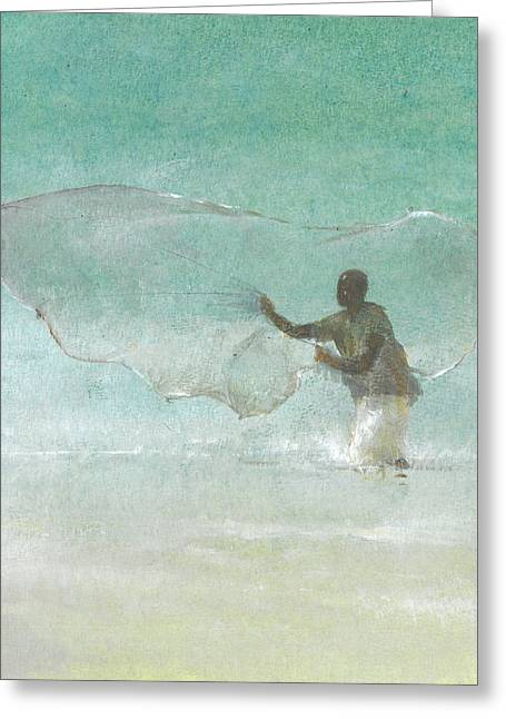 Ocean Shore Drawings Greeting Cards - Lone Fisherman Five Greeting Card by Lincoln Seligman
