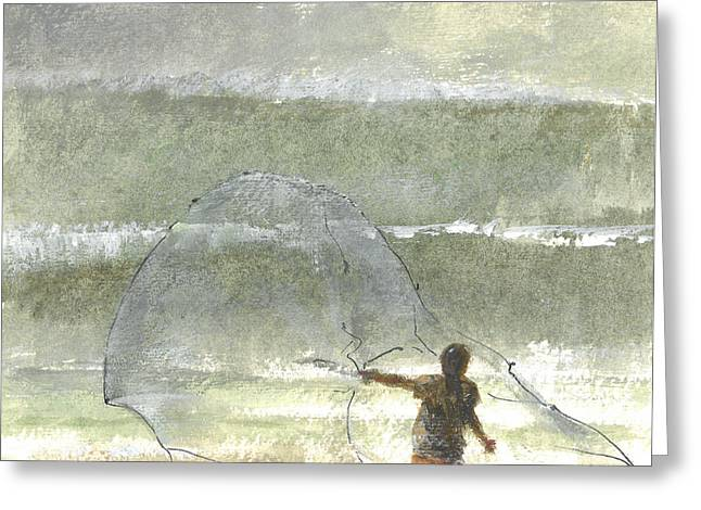 Ocean Shore Drawings Greeting Cards - Lone Fisherman Four Greeting Card by Lincoln Seligman