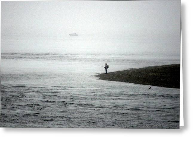 Foggy Ocean Paintings Greeting Cards - Lone Fisherman Greeting Card by Melodie Douglas