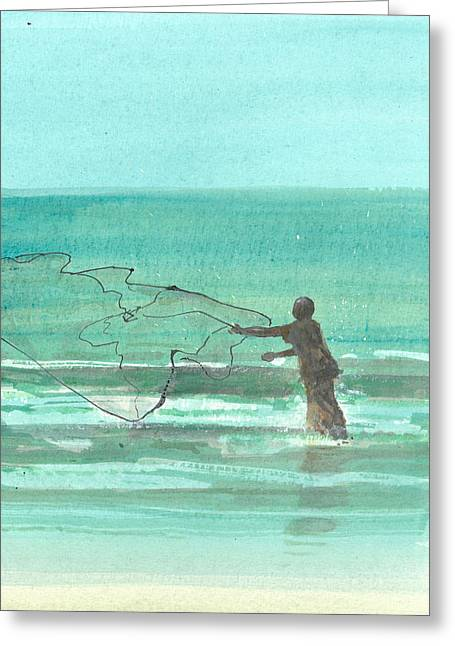 Hurl Greeting Cards - Lone Fisherman One Greeting Card by Lincoln Seligman