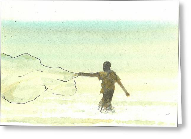 Hurl Greeting Cards - Lone Fisherman Six Greeting Card by Lincoln Seligman