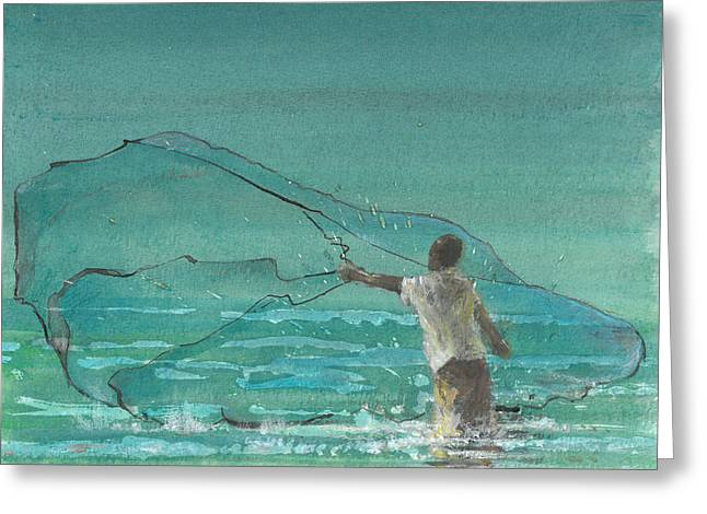 Ocean Shore Drawings Greeting Cards - Lone Fisherman Three Greeting Card by Lincoln Seligman