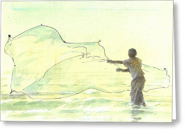 Hurl Greeting Cards - Lone Fisherman Two Greeting Card by Lincoln Seligman