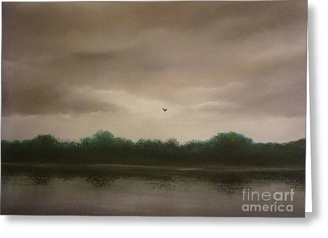 Skies Pastels Greeting Cards - Lone Flight Greeting Card by Paul Horton