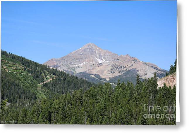 Gallatin River Greeting Cards - Lone Mountain Greeting Card by Susan Herber