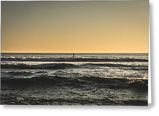 Beach Greeting Cards - Lone Paddler At Sunset Greeting Card by Marco Oliveira