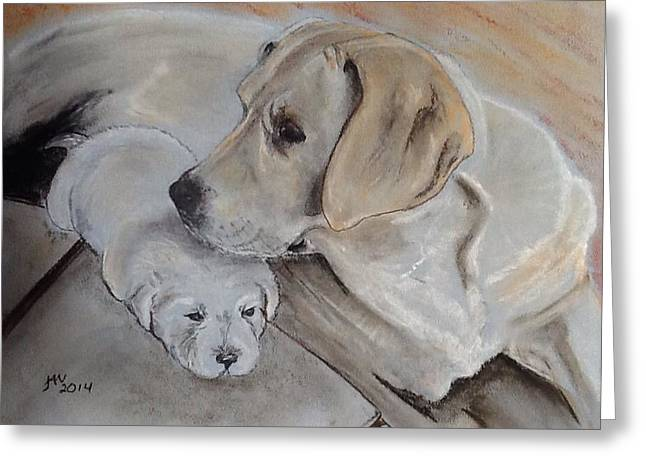 Puppies Pastels Greeting Cards - Lone Puppy Greeting Card by Janice Curry