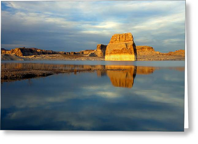 Powell Greeting Cards - Lone Rock Glow Greeting Card by Mike  Dawson