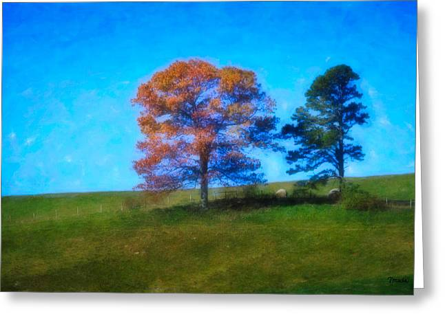 Hay Bales Greeting Cards - Lone Trees Painting Greeting Card by Teresa Mucha