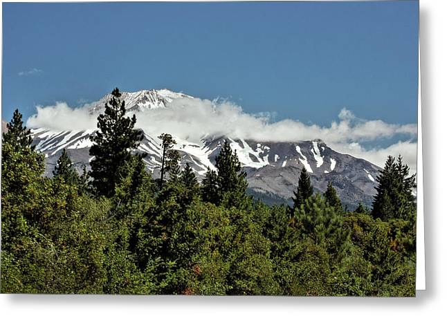 Snow Capped Greeting Cards - Lonely as God and white as a winter moon - Mount Shasta California Greeting Card by Christine Till