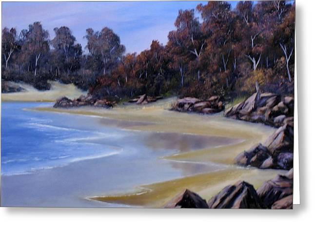 Beaches Reliefs Greeting Cards - Lonely Beach Greeting Card by John Cocoris