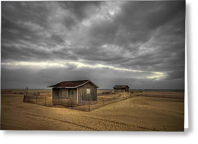 Shed Photographs Greeting Cards - Lonely Beach Shacks Greeting Card by Evelina Kremsdorf
