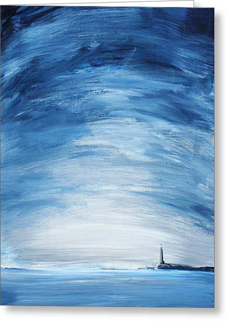 Maine Shore Mixed Media Greeting Cards - Lonely Beacon Greeting Card by Brian Behm
