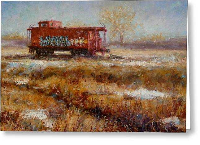 Caboose Paintings Greeting Cards - Lonely Caboose Greeting Card by Donelli  DiMaria