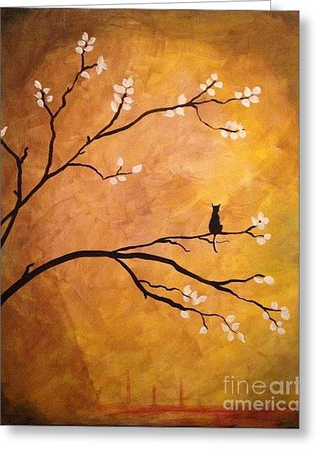 Dogwood Silhouette Greeting Cards - Lonely cat feline silhouette Greeting Card by Donna Marshall