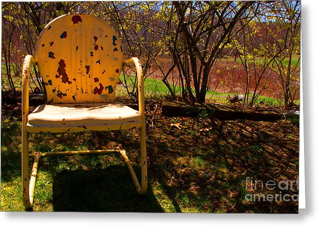 Lawn Chair Greeting Cards - Lonely Chair Greeting Card by Ray Konopaske