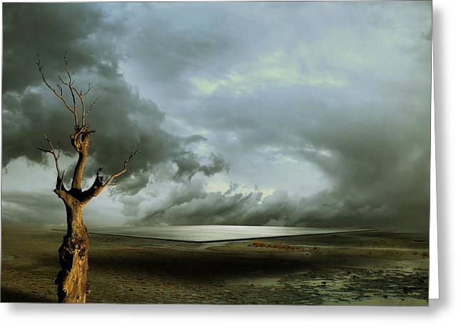 Fantasy Tree Greeting Cards - Lonely Death Greeting Card by Franziskus Pfleghart