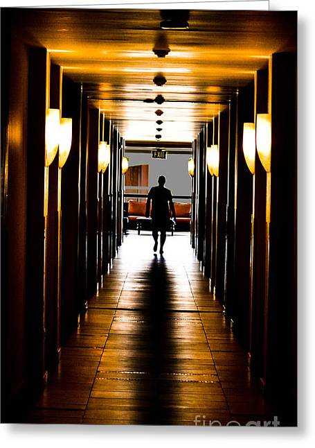 White Photographs Greeting Cards - Lonely Hallway Greeting Card by Gary Keesler