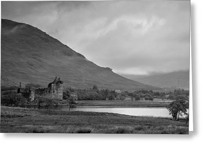 Kilchurn Castle Greeting Cards - Lonely in grey Greeting Card by Chris Whittle