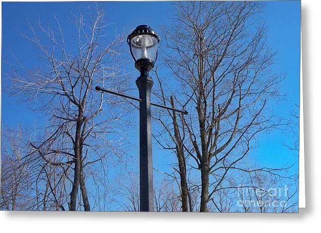 Lonely Lamp Post Greeting Card by Deborah MacQuarrie