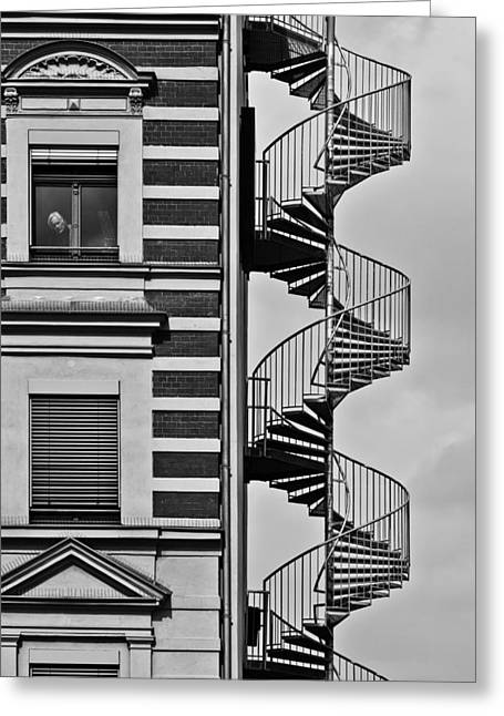 Stairways Greeting Cards - Lonely Man Greeting Card by Christian Muller