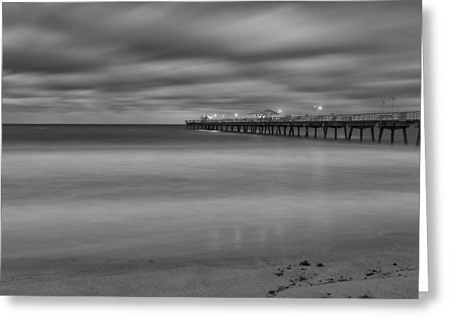 White Greeting Cards - Lonely Morning at the Pier Greeting Card by Andres Leon