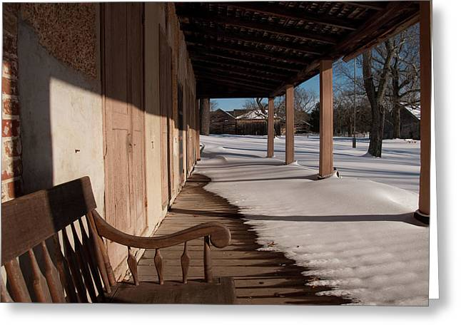 Overhanging Snow Greeting Cards - Lonely Porch Greeting Card by Matthew Soult