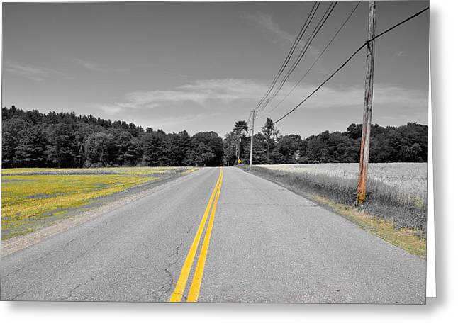 Roadway Greeting Cards - Lonely Road Greeting Card by Brian Mooney