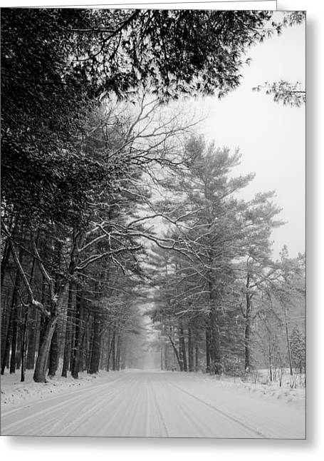 Winter Roads Greeting Cards - Lonely Road Greeting Card by Edward Myers