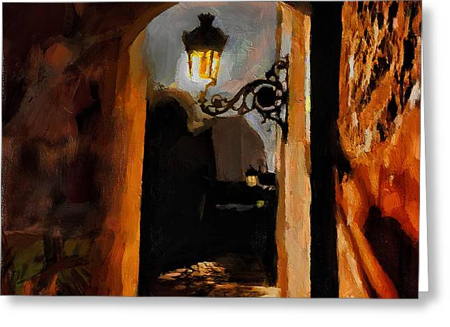 Old San Juan Mixed Media Greeting Cards - Lonely Street Greeting Card by Charlie Roman