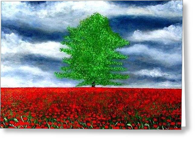 lonely tree amongst zillions of poppies Greeting Card by Marie-Line Vasseur