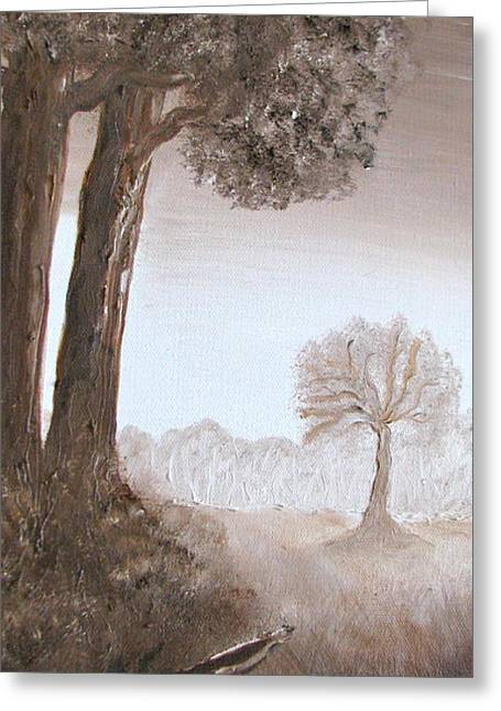 Burnt Umber Greeting Cards - Lonely Trees Greeting Card by Kimby Faires