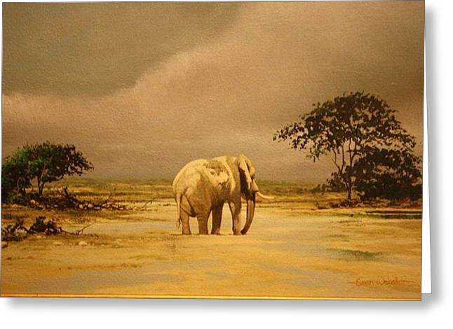 Zimbabwe Paintings Greeting Cards - Loner Greeting Card by Sean Webster